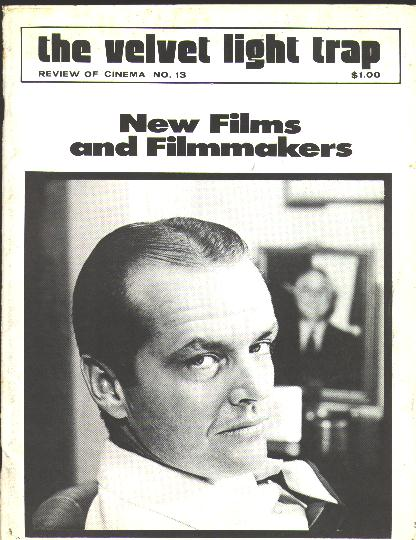 "Image for The Velvet Light Trap (No. 13, Fall 1974): New Films and Filmmakers [cover: Jack Nicholson in ""Chinatown""]"