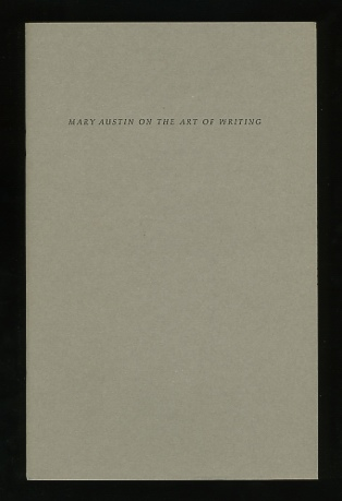 Image for Mary Austin On the Art of Writing; A letter to Henry James Forman
