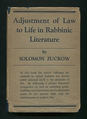 Image for Adjustment of Law to Life in Rabbinic Literature