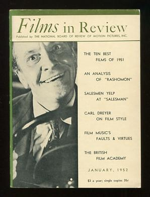 Image for Films in Review (January 1952) [cover: Fredric March in DEATH OF A SALESMAN]