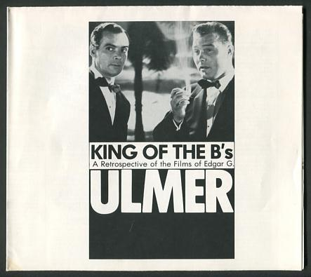 Image for King of the B's: A Retrospective of the Films of Edgar G. Ulmer [program/poster]