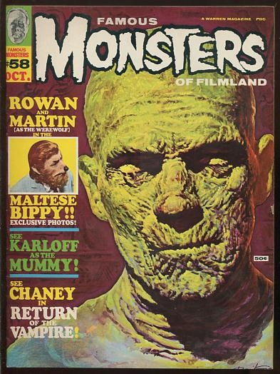 Image for Famous Monsters of Filmland (#58, October 1969) [cover illustration: Boris Karloff in THE MUMMY]