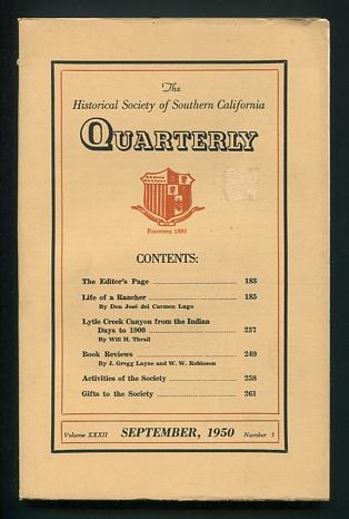 Image for The Historical Society of Southern California Quarterly (September 1950)
