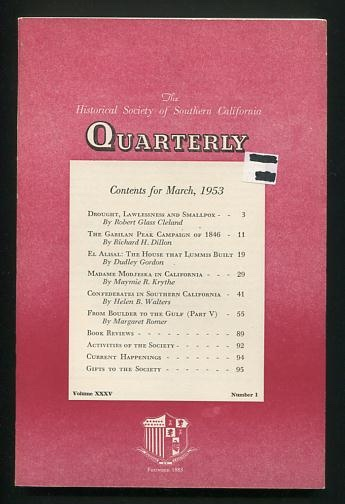 Image for The Historical Society of Southern California Quarterly (March 1953)