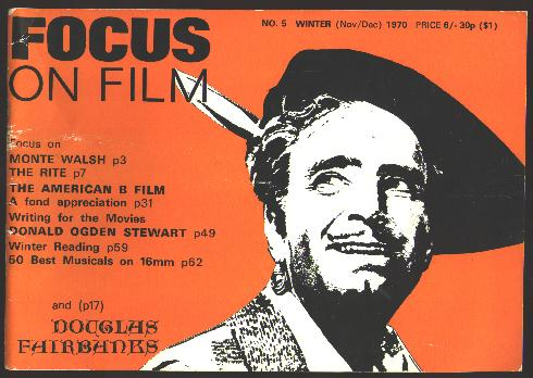 Image for Focus on Film (No. 5, Winter (November-December) 1970) [cover: Douglas Fairbanks]