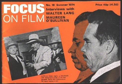 Image for Focus on Film (No. 18, Summer 1974) [cover: Warren Oates in DILLINGER]